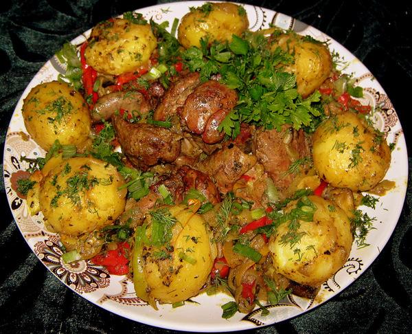 Куриная печень запеченная в духовке с картошкой