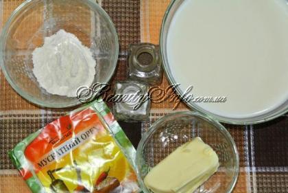 Ингредиенты для соуса бешамель
