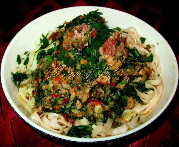 Спагетти с чукой, пошаговый рецепт с фото
