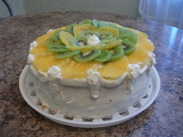 Торты с апельсинами бананами киви