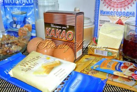 Ингредиенты для шоколадно-орехового торта