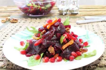 рецепты салатов с орехами и гранатом