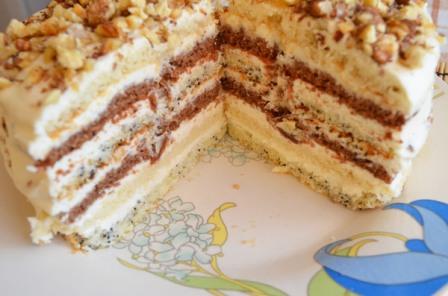 торт с маком изюмом и орехами и сгущенкой рецепт с фото